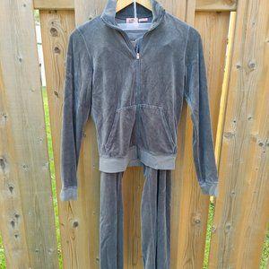 Vintage Light Grey Juicy Couture Velour Track Suit Medium